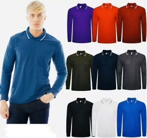 Mens Polo Long Sleeve Pique T-Shirt Tipping Collar Pocket Smart Casual Shirt Top