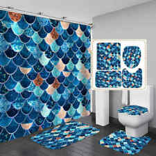 Mermaid Blue Scales Shower Curtain Bath Mat Toilet Cover Rug Bathroom Decor