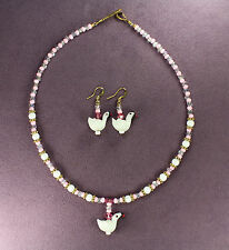 SWAN TOTEM NECKLACE EARRING SET Bird Love White Pink Crystal Gold Wedding Bridal