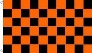 Orange & Black Chequered Flag - Large 5 x 3 FT - Checkered Sports Football Team