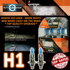 IGNITION H1 80W NIGHT VISION SUPER WHITE XENON HID HEADLIGHT BULBS 6000K UPGRADE