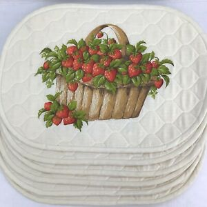 """Strawberry placemats set of 6 Basket full Of strawberries 18 1/2"""" Fabric Vtg"""