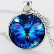 UK BLUE BUTTERFLY PENDANT NECKLACE Silver Jewellery Gift Idea Insect Boho Summer