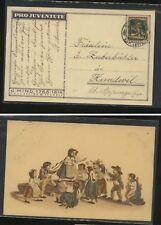 Switzerland  B5   on   nice  color post  card   1916        MS1127