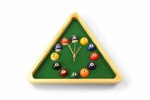 Ex demo showroom  Triangular wall clock wood effect clock  pool balls snooker