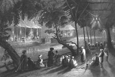 Syria, OLD CITY DAMASCUS CAFES BY RIVER COFFEE SHOPS ~ 1838 Art Print Engraving