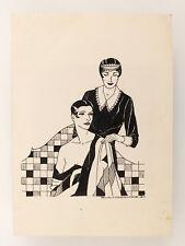 1927 Estonia ART NOUVEAU Original Vintage INK DRAWING  Ladies