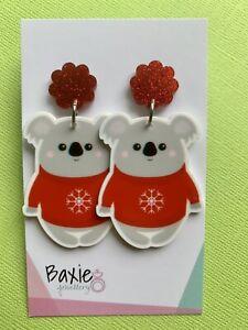 Christmas Dangle Earrings, Xmas Koala, Stud Back, Red Glitter Acrylic
