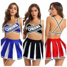 Women Cheerleading Costume School Girl Uniform Fancy Dress Cosplay Pleated Skirt