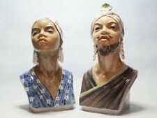 Jugendstil Zwei Büsten  Afrika Mädchen und Mann  Dahl Jensen  Art Nouveau figure