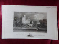 Antique engraving view EAST COWES CASTLE JOHN NASH, ISLE OF WIGHT c1830 Veduta