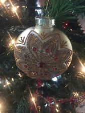 "Gorgeous New Kurt Adler 4.25"" Vintage Cranberry Victorian Disc Ornament! Gold!"