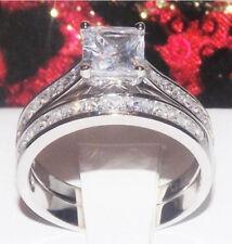 Ep Wedding Ring Set Engagement 5-9 3.6C Princess Cut Diamond Simulated Platinum