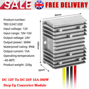 WaterProof DC (12V to 24V) (15A 360W) (STEP UP) DC/DC Power Converter Regulator
