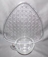 Indiana Glass Daisy & Button Triangle Shaped Clear Glass Snack Tray Set
