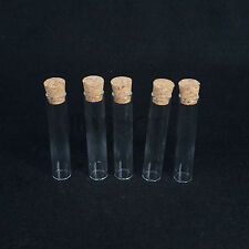 5Pcs 20x100mm Lab Glass Test Tube Flat Bottom With Wood Stopper Thermostability
