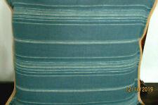 RALPH LAUREN 1 TOSS THROW EURO PILLOW SHAM 26X26'BLUE STRIPE 100%LINEN JUTE EDGE