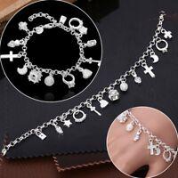 Dame Anhänger Armband Kette Anhängern Armkette Silber Farbe Geschenk Modeschmuck