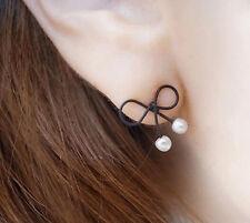 Simple Bowknot&pearl Alloy Ear Stud Earrings accessories cute Earrings For Women