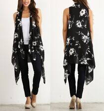 Pretty Young Thing Woven Floral Print Sleeveless Cardigan Top