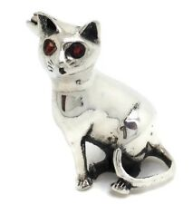 Cat Brooch, solid Sterling Silver, Sitting, Garnet Eyes, New, Actual One, UK.