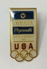 Vintage 1992 Olympic Chrysler Plymouth Official Sponsor Usa Lapel Pin