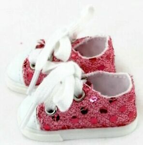 Pink Sequin Sneaker Shoes for 14.5 inch American Girl Wellie Wishers Dolls