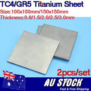 2X TC4/GR5 Titanium Sheet Ti Plate DIY Material Metal Pannel 100x100mm/150x150mm