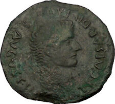 TIBERIUS 21AD Serobriga Spain Authentic Ancient Roman Coin of Bible Times i52983
