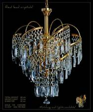 AMAZING CHANDELIER WITH REAL CRYSTALS *GOLD OR SILVER* MATCHING WALL LIGHTS