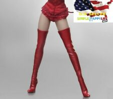 "1/6 scale Red woman boots over knee high for phicen verycool kumik 12"" body❶USA❶"