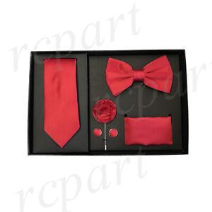 New formal Men's lapel pin skinny necktie hankie cufflinks bowtie gift set Red