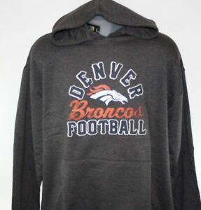 Mens NFL Majestic Denver Broncos Charcoal Screen Printed Pullover Hoodie