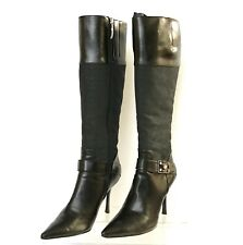 GUESS Women Black Knee High Stileto Heels Pointed Toe Boots Size US 8M