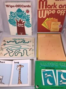 3 Trend Enterprises, Ideal Vintage Wipe Off Cards & Match Me game Home School