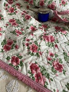 Vintage Pink White And Green Floral Cotton Quilt Coverlet Throw NWOT