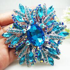 Silver Tone Blue Crystal Oval Flower Woman Brooch Pin Rhinestone Jewelry
