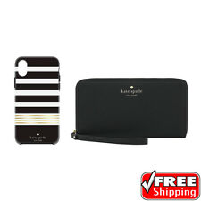 Kate Spade Universal Zip Wristlet and iPhone X Case Gift Set Box Gold Black NEW
