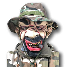 White Male Man Army Platoon Soldier Latex Mask Beard Camoflauge Green Beret