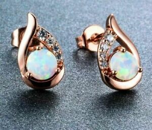 Rose Gold Filled White Fire Opal Tear Shaped Stud Earrings Simulated Diamond