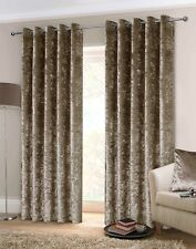 Rapport Luxury Heavy Weight Fully Lined Crushed Velvet Curtains Eyelet Mink