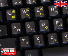 Korean Transparent Keyboard Stickers With Yellow Letters For Laptop Computer PC
