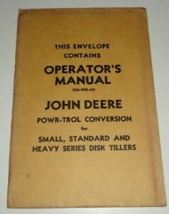 John Deere Powr-Trol Conversion (for Disk Tillers) Operators Manual NOS UNOPENED