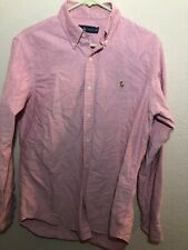 Ralph Lauren Mens Shirt Colored Pony Chemise Red Button Front Size Medium