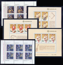 1985 Portugal, Azores, Madeira Complete Year MNH. 9 Souvenir Sheets, Blocks.
