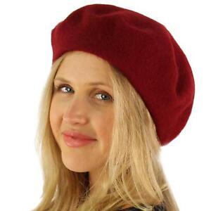 Classic Winter 100% Wool Warm French Artist Basque Beret Tam Beanie Hat Cap Wine