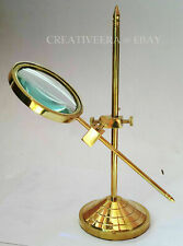 Marine Vintage Brass Table Magnifier Magnifying Reading Glass W Stand Nautical