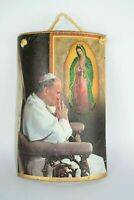 Vintage 80s POPE JOHN PAUL II Catholic Wall Art on Tile Religious Decor