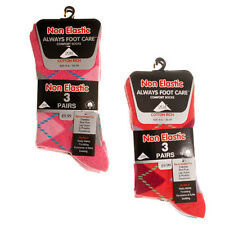 NEW Ladies Womens Non Elastic Argyle Lycra Socks Coton Rich 3 Pair Pack Size 4-6