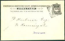 British East Africa 1895, H & G #4 1 Anna postcard used